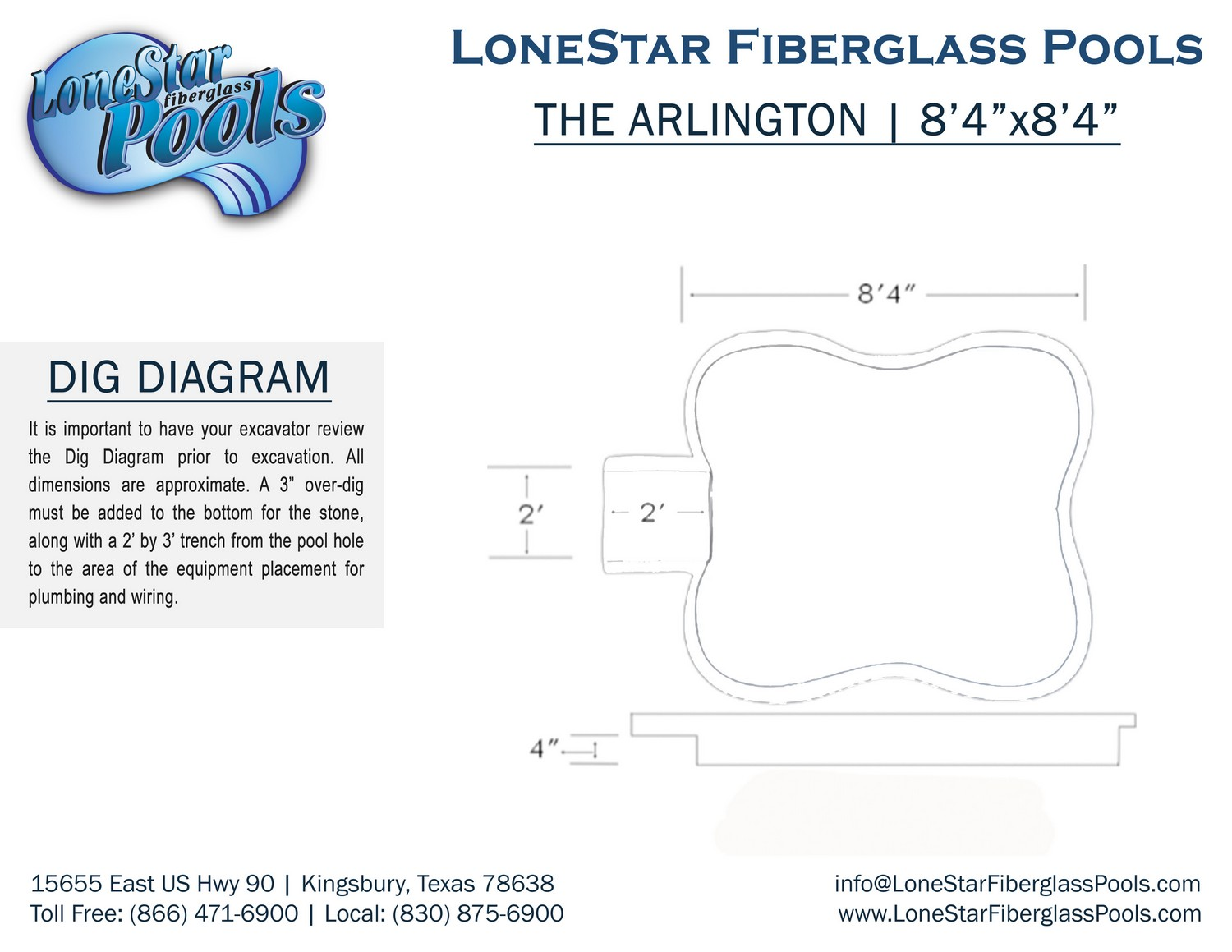 the arlington  atlantis inground fiberglass swimming pool dig diagram
