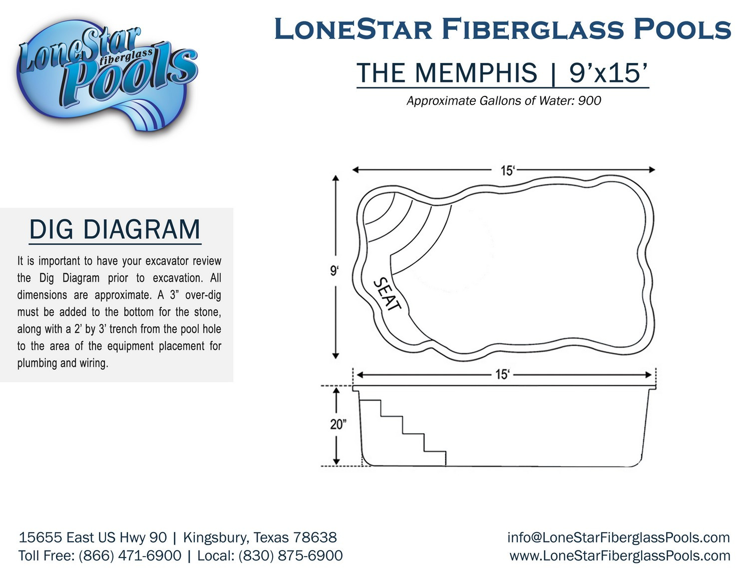 Dig Diagrams Lonestar Fiberglass Pools